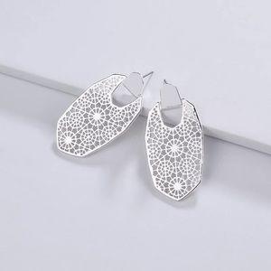 """2.2"""" Silver Flower Filigree stud drop earring"""